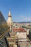 Εναέρια άποψη του ορίζοντα πόλεων της Βιέννης από τον καθεδρικό ναό Stephansdom Στοκ Εικόνες