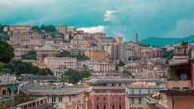 Εναέρια άποψη του ορίζοντα της Γένοβας, Ιταλία, ορόσημο φαναριών, Λιγυρία, παλαιά πόλη απόθεμα βίντεο