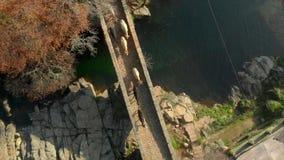 Εναέρια άποψη του περάσματος των αγελάδων από μια ρωμαϊκή γέφυρα Losar de Λα Βέρα Estremadura Ισπανία απόθεμα βίντεο