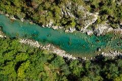Εναέρια άποψη του ποταμού της Tara στο Μαυροβούνιο Στοκ Φωτογραφία