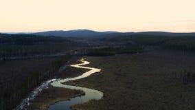 Εναέρια άποψη του ποταμού υπό μορφή φιδιού στον τομέα φιλμ μικρού μήκους