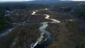 Εναέρια άποψη του ποταμού υπό μορφή φιδιού στον τομέα απόθεμα βίντεο