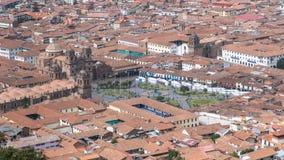 Εναέρια άποψη του πόλης κέντρου Plaza de Armas σε Cusco, Περού Στοκ Εικόνες
