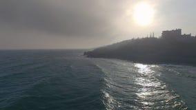 Εναέρια άποψη του σκοτεινού νησιού απόθεμα βίντεο