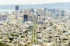 Εναέρια άποψη του στο κέντρο της πόλης Σαν Φρανσίσκο Στοκ Εικόνα