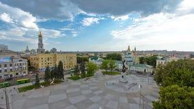 Εναέρια άποψη του τετραγώνου του συντάγματος timelapse στο κέντρο πόλεων Kharkov απόθεμα βίντεο