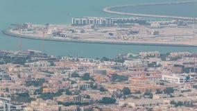 Εναέρια άποψη του τεχνητού Daria νησιού του Ντουμπάι, Ντουμπάι, Ηνωμένα Αραβικά Εμιράτα φιλμ μικρού μήκους