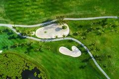 Εναέρια άποψη του τροπικού γηπέδου του γκολφ, Δομινικανή Δημοκρατία, Punta Γ στοκ εικόνα