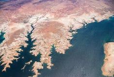 Εναέρια άποψη του υδρομελιού λιμνών από ανωτέρω Στοκ Εικόνα