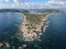 Εναέρια άποψη του φυσικού πάρκου Ses Salines, Ibiza Ισπανία στοκ φωτογραφία