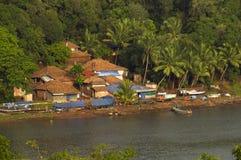 Εναέρια άποψη του χωριού ψαράδων, Konkan, Maharashtra Στοκ Φωτογραφίες