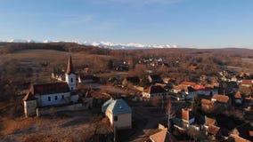 Εναέρια άποψη του χωριού Gherdeal στη Ρουμανία φιλμ μικρού μήκους