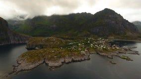 Εναέρια άποψη του ψαροχώρι Α στα νησιά Lofoten στον ήλιο μεσάνυχτων, Νορβηγία στοκ εικόνες με δικαίωμα ελεύθερης χρήσης