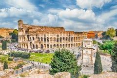 Εναέρια άποψη του Colosseum και της αψίδας του Constantine, Ρώμη Στοκ Φωτογραφία