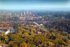 Εναέρια άποψη του Khmer ναού Angkor Wat σύνθετου, Ασία Το Siem συγκεντρώνει, Στοκ Εικόνα