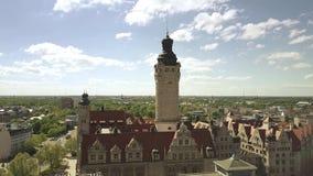 Εναέρια άποψη του Neues Rathaus ή του νέου Δημαρχείου στη Λειψία, Γερμανία Στοκ Εικόνες