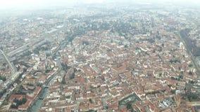 Εναέρια άποψη του Treviso και του ποταμού Sile, Ιταλία απόθεμα βίντεο