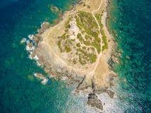Εναέρια άποψη των αιμοδιψών νησιών Sanguinaires στην Κορσική, Fra Στοκ Φωτογραφίες