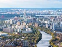 Εναέρια άποψη των βορειοδυτικών περιοχών της Μόσχας στοκ εικόνες