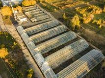 Εναέρια άποψη των γεωργικών θερμοκηπίων γυαλιού εξωτερικών στο καλοκαίρι ημέρα φ στοκ εικόνες με δικαίωμα ελεύθερης χρήσης
