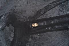 Εναέρια άποψη των εκσακαφέων στο ανθρακωρυχείο στη Σιλεσία, Στοκ Εικόνες