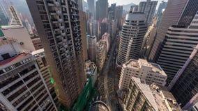 Εναέρια άποψη των ηλιόλουστων ουρανοξυστών ημέρας Χονγκ Κονγκ απόθεμα βίντεο