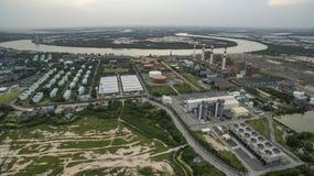 Εναέρια άποψη των θερμικών εγκαταστάσεων γεννητριών ηλεκτρικής δύναμης σε thailan Στοκ Εικόνα