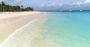 Εναέρια άποψη των κυμάτων θάλασσας, πράσινοι φοίνικες, αμμώδης παραλία απόθεμα βίντεο
