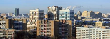 Εναέρια άποψη των νέων και παλαιών σπιτιών διαμερισμάτων Μόσχα Ρωσία Στοκ εικόνα με δικαίωμα ελεύθερης χρήσης