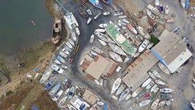 Εναέρια άποψη των ξηρών αποβαθρών και του ναυπηγείου σε Olhao, Πορτογαλία απόθεμα βίντεο