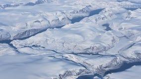 Εναέρια άποψη των παγετώνων, των ποταμών και των παγόβουνων στη νότια παράλια της Γροιλανδίας Στοκ Εικόνες