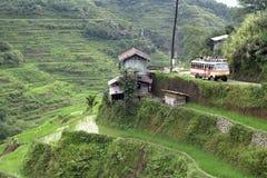 Εναέρια άποψη των παγκοσμίως διάσημων πεζουλιών ρυζιού, Banaue Στοκ φωτογραφία με δικαίωμα ελεύθερης χρήσης