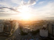 Εναέρια άποψη των παλαιών και νέων ρωσικών κτηρίων στοκ εικόνες