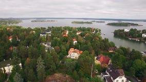 Εναέρια άποψη των σπιτιών στη Σουηδία απόθεμα βίντεο