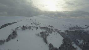 Εναέρια άποψη των χιονισμένων βουνών το χειμώνα απόθεμα βίντεο
