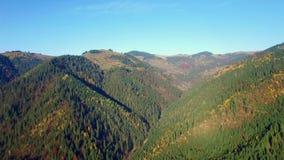 Εναέρια άποψη των χρωμάτων Carpathians φθινοπώρου απόθεμα βίντεο