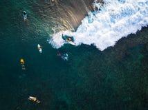 Εναέρια άποψη των surfers στοκ φωτογραφία με δικαίωμα ελεύθερης χρήσης