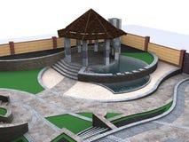 Εναέρια άποψη των two-tiered χαρακτηριστικών γνωρισμάτων λιμνών patio, τρισδιάστατη απόδοση Στοκ εικόνα με δικαίωμα ελεύθερης χρήσης