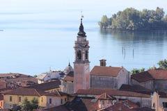 Εναέρια άποψη Arona της πόλης, Ιταλία Στοκ φωτογραφία με δικαίωμα ελεύθερης χρήσης