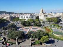 Εναέρια άποψη Cataluña Βαρκελώνη Ισπανία Plaza Στοκ Εικόνες