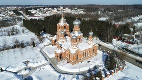 Εναέρια άποψη Exaltation της ιερής διαγώνιας εκκλησίας στο χωριό Darna στοκ φωτογραφία