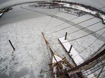 Εναέρια άποψη Fisheye από υψηλά σχετικά με το tallship στον πάγο Στοκ φωτογραφίες με δικαίωμα ελεύθερης χρήσης