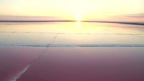 Εναέρια άποψη 4K Μυθικό ηλιοβασίλεμα στη νεκρή αλατισμένη θάλασσα Ρόδινη αλατισμένη άλμη φιλμ μικρού μήκους