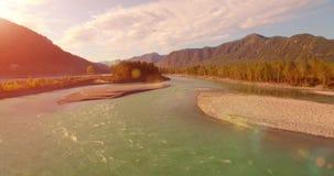 εναέρια άποψη 4k UHD Χαμηλή πτήση πέρα από το φρέσκο κρύο ποταμό βουνών στο ηλιόλουστο θερινό πρωί Πράσινες δέντρα και ακτίνες ήλ απόθεμα βίντεο