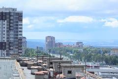 Εναέρια άποψη Kazan της πόλης Περιοχές διαβίωσης από τη στέγη Στοκ Εικόνες