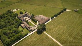Εναέρια άποψη Montagne Άγιος-Emilion, Aquitaine, Μπορντώ Wineyard στοκ εικόνες