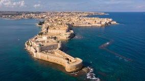 Εναέρια άποψη Ortigia, ιστορικό κέντρο της πόλης των Συρακουσών στοκ φωτογραφία με δικαίωμα ελεύθερης χρήσης