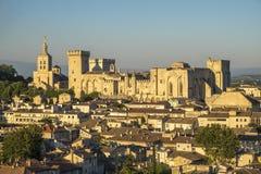 Εναέρια άποψη Palais des Papes, περιοχή παγκόσμιων κληρονομιών της ΟΥΝΕΣΚΟ, και Στοκ φωτογραφία με δικαίωμα ελεύθερης χρήσης