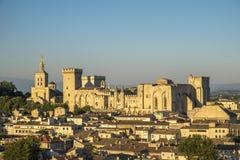 Εναέρια άποψη Palais des Papes, περιοχή παγκόσμιων κληρονομιών της ΟΥΝΕΣΚΟ, και Στοκ Εικόνες