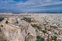Εναέρια άποψη Parthenon και της ακρόπολη στην Αθήνα Στοκ Εικόνες